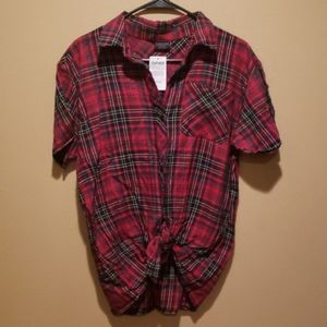 Empyre Red Plaid Button Up Short Sleeve